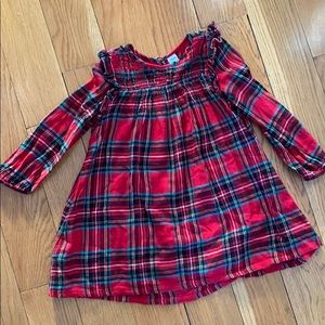 Red plaid flannel dress